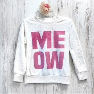 Total Girl white pink meow fluffy sweatshirt